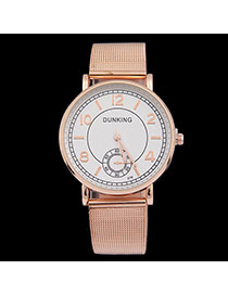 Personality Gold Color Round Dial&letter Pattern Decorated Metal Stap Design Women Watch Alloy Ladies Watches