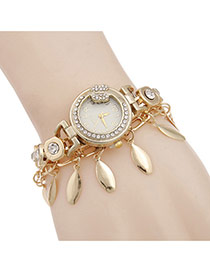 Lovely Gold Color Leaf Pendant&rhinestone Decorated Watch