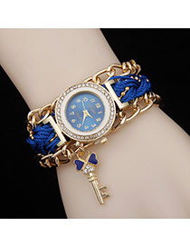 Delicate Blue Key Pendant Decorated Watch