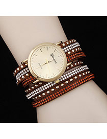 Personality Brown Diamond Decorated Double Layer Rivet Watch