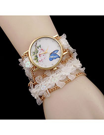 Lovely White Flower Decorated Simple Watch