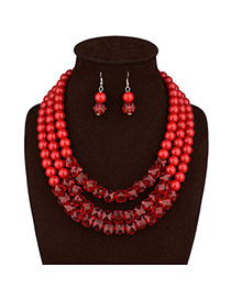 Fashion Red Diamond&pearl Decorated Multi-layer Necklace Set