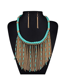 Fashion Green Metal Chain Decorated Tassel Nacklace