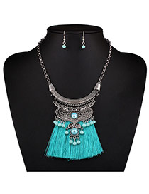 Bohemia Green Bead Decorated Tassel Nacklace Set