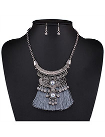 Bohemia Gray Bead Decorated Tassel Nacklace Set