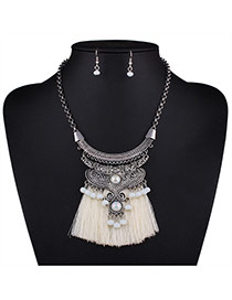 Bohemia Beige Bead Decorated Tassel Nacklace Set
