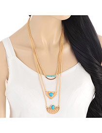 Retro Gold Color Hollow Out Heart Shape Decorated Multilayer Necklace