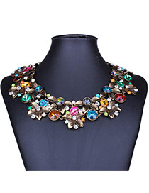 Exaggerate Multi-color Diamond&flower Decorated Double Layer Collarbone Necklace