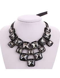 Fashion Black Square Shape Gemstone Decorated Collar Necklace