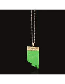 Elegant Green Irregular Shape Decorated Simple Chain Necklace