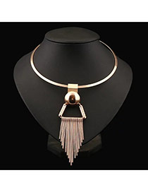 Elegant Gold Color Tassel Pendant Decorated Short Chain Necklace