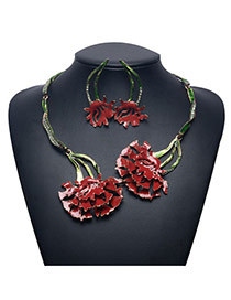 Exaggerate Red Flower Pendant Decorated Jewelry Sets