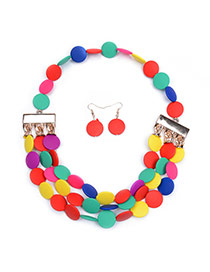 Lovely Multi-color Round Shape Pendant Decorated Mutilayer Necklace