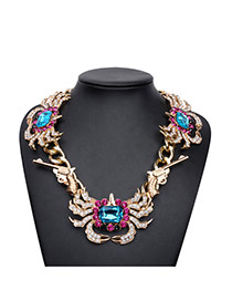 Exaggerate Blue Crab&gun Shape Decorated Short Chain Necklace