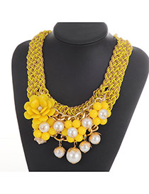 Fashion Yellow Flower&pearl Decorated Weaving Collar Necklace