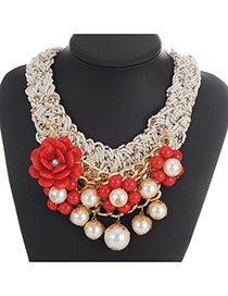 Fashion White Flower&pearl Decorated Weaving Collar Necklace