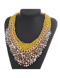 Fashion Yellow Pearl Weaving Pendant Decoated Hand-woven Collar Necklace