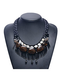 Exaggerate Black Stone&tassel Pendant Decorated Hand-woven Chain Necklace