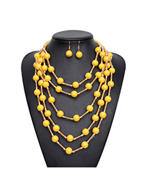 Trendy Yellow Pure Color Beads Decorated Multilayer Jwelry Sets
