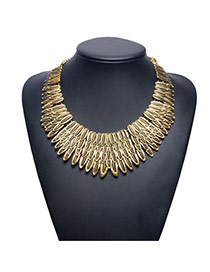 Fashion Gold Color Multilayer Leaf Shape Decorated Collar Necklace