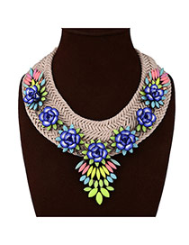 Lovely Blue Waterdrop Demstone&flower Decorated Collar Necklace