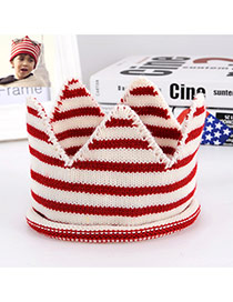 Lovely White+red Crown Shape Decorated Simple Knitting Hat