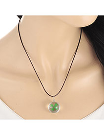 Lovely Green Clover Pendant Decorated Simple Necklace
