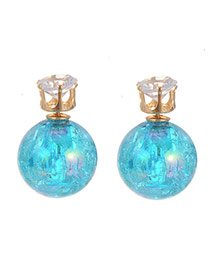 Sweet Blue Diamond Decorated Ball Shape Earring