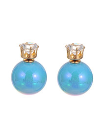 Sweet Blue Diamond Decorated Pure Color Ball Shape Earring