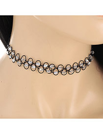 Fashion White Double Layer Diamond Weaving Decorated Simple Necklace