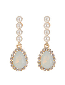 Elegant White Waterdrop Gemstone Pendant Decorated Earrings