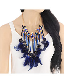 Exaggerate Navy Blue Feather Pendant Tassel Short Chain Necklace