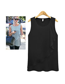 Trendy Black Pure Color Falbala Decorated Sleeveless Tank Tops