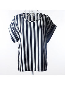 Trendy White+black Vertical Bar Pattern Decorated Short Sleeve Simple T-shirt