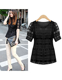 Trendy Black Pure Color Grid Decorated Bubble Sleeve T-shirt