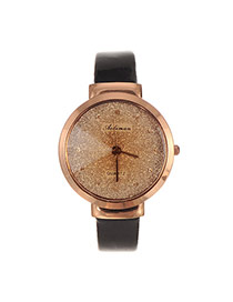 Elegant Black Letter Decorated Pure Color Strap Watch