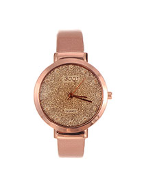Elegant Champagne Letter Decorated Pure Color Strap Watch