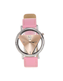 Delicate Pink Triangle Dial Plate Decorated Hollow Out Watch