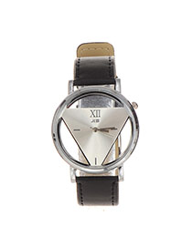 Delicate Silver Color+black Triangle Dial Plate Decorated Hollow Out Watch