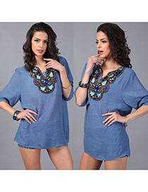 Trendy Blue Embroiedry Pattern Decorated Three Quarter Sleeve Loose Blouses