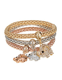 Fashion Multi-color Elephant Shape Pendant Decorated Multilayer Bracelet