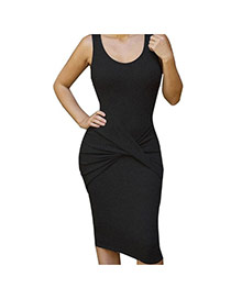 Sexy Black Sleeveless Decorated Pure Color Tight Long Dress