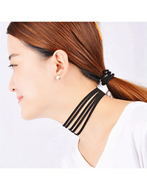 Fashion Black Pure Color Design Simple Multilayer Necklace