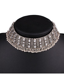 Vintage Anti-silver Voal Shape Gemstone Decorated Simple Collar Necaklace