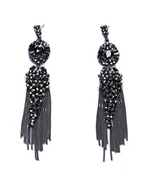 Exaggerated Black Gemstone Decorated Metal Chain Tassel Pendant Earring
