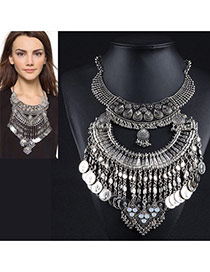 Exaggerated Anti-silver Multilayer Tassel Pendant Decorated Geometric Shape Necklace