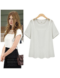 Fashion White Hollow Out Net  Yarn  Patchwork Decorated Short Sleeve Pure Color Blouse