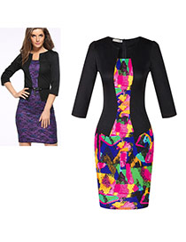 Fashion Black Graffiti Decorated Three Quarter Sleeve False Two-piece Dress(with Belt)