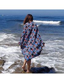 Bohemia Blue Flower Pattern Decorated Loose Bikini Cover Up Smock