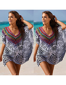 Fashion Gray Zebra-stripe Pattern Decorated Batwing Sleeve Loose Blouse